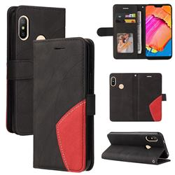 Luxury Two-color Stitching Leather Wallet Case Cover for Xiaomi Mi A2 Lite (Redmi 6 Pro) - Black