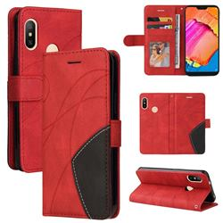 Luxury Two-color Stitching Leather Wallet Case Cover for Xiaomi Mi A2 Lite (Redmi 6 Pro) - Red