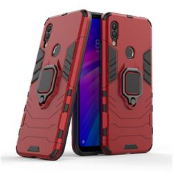 Black Panther Armor Metal Ring Grip Shockproof Dual Layer Rugged Hard Cover for Mi Xiaomi Redmi 7 - Red