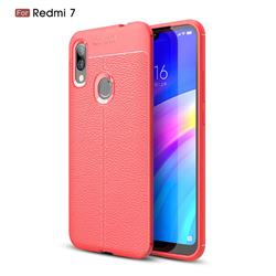 Luxury Auto Focus Litchi Texture Silicone TPU Back Cover for Mi Xiaomi Redmi 7 - Red