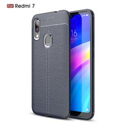 Luxury Auto Focus Litchi Texture Silicone TPU Back Cover for Mi Xiaomi Redmi 7 - Dark Blue