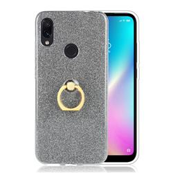 Luxury Soft TPU Glitter Back Ring Cover with 360 Rotate Finger Holder Buckle for Mi Xiaomi Redmi 7 - Black