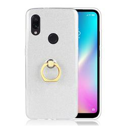 Luxury Soft TPU Glitter Back Ring Cover with 360 Rotate Finger Holder Buckle for Mi Xiaomi Redmi 7 - White