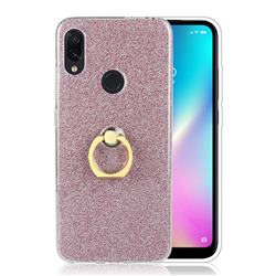 Luxury Soft TPU Glitter Back Ring Cover with 360 Rotate Finger Holder Buckle for Mi Xiaomi Redmi 7 - Pink