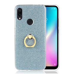 Luxury Soft TPU Glitter Back Ring Cover with 360 Rotate Finger Holder Buckle for Mi Xiaomi Redmi 7 - Blue