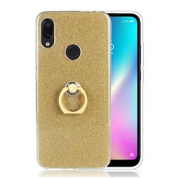 Luxury Soft TPU Glitter Back Ring Cover with 360 Rotate Finger Holder Buckle for Mi Xiaomi Redmi 7 - Golden