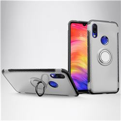Armor Anti Drop Carbon PC + Silicon Invisible Ring Holder Phone Case for Mi Xiaomi Redmi 7 - Silver