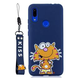 Blue Cute Cat Soft Kiss Candy Hand Strap Silicone Case for Mi Xiaomi Redmi 7