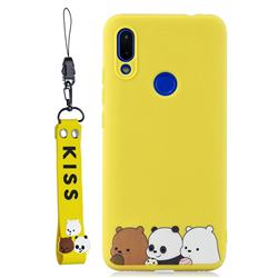 Yellow Bear Family Soft Kiss Candy Hand Strap Silicone Case for Mi Xiaomi Redmi 7