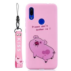 Pink Cute Pig Soft Kiss Candy Hand Strap Silicone Case for Mi Xiaomi Redmi 7