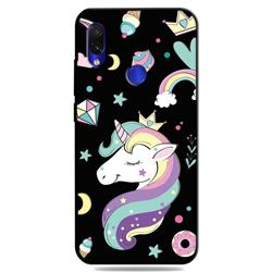 Candy Unicorn 3D Embossed Relief Black TPU Cell Phone Back Cover for Mi Xiaomi Redmi 7
