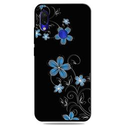 Little Blue Flowers 3D Embossed Relief Black TPU Cell Phone Back Cover for Mi Xiaomi Redmi 7