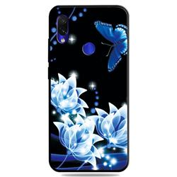 Blue Butterfly 3D Embossed Relief Black TPU Cell Phone Back Cover for Mi Xiaomi Redmi 7