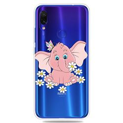 Tiny Pink Elephant Clear Varnish Soft Phone Back Cover for Mi Xiaomi Redmi 7
