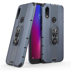 Alita Battle Angel Armor Metal Ring Grip Shockproof Dual Layer Rugged Hard Cover for Mi Xiaomi Redmi 7 - Blue
