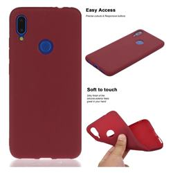 Soft Matte Silicone Phone Cover for Mi Xiaomi Redmi 7 - Wine Red