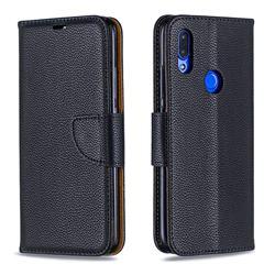 Classic Luxury Litchi Leather Phone Wallet Case for Mi Xiaomi Redmi 7 - Black