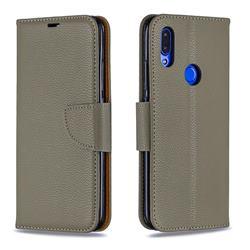 Classic Luxury Litchi Leather Phone Wallet Case for Mi Xiaomi Redmi 7 - Gray