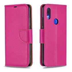 Classic Luxury Litchi Leather Phone Wallet Case for Mi Xiaomi Redmi 7 - Rose