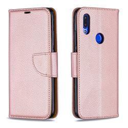 Classic Luxury Litchi Leather Phone Wallet Case for Mi Xiaomi Redmi 7 - Golden
