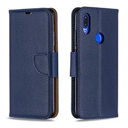 Classic Luxury Litchi Leather Phone Wallet Case for Mi Xiaomi Redmi 7 - Blue
