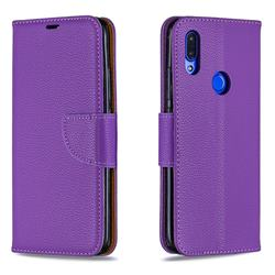 Classic Luxury Litchi Leather Phone Wallet Case for Mi Xiaomi Redmi 7 - Purple