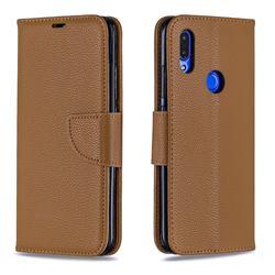 Classic Luxury Litchi Leather Phone Wallet Case for Mi Xiaomi Redmi 7 - Brown