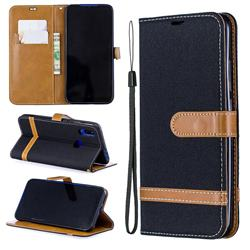 Jeans Cowboy Denim Leather Wallet Case for Mi Xiaomi Redmi 7 - Black