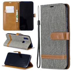 Jeans Cowboy Denim Leather Wallet Case for Mi Xiaomi Redmi 7 - Gray