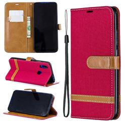 Jeans Cowboy Denim Leather Wallet Case for Mi Xiaomi Redmi 7 - Red