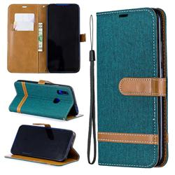 Jeans Cowboy Denim Leather Wallet Case for Mi Xiaomi Redmi 7 - Green