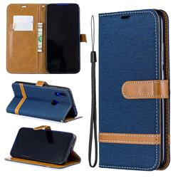 Jeans Cowboy Denim Leather Wallet Case for Mi Xiaomi Redmi 7 - Dark Blue