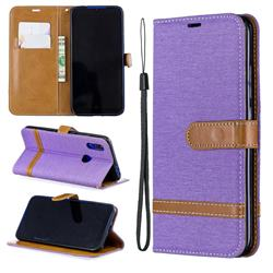 Jeans Cowboy Denim Leather Wallet Case for Mi Xiaomi Redmi 7 - Purple