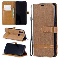 Jeans Cowboy Denim Leather Wallet Case for Mi Xiaomi Redmi 7 - Brown