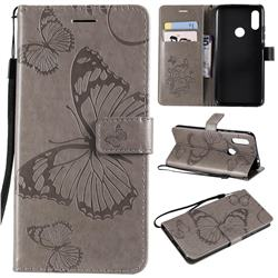 Embossing 3D Butterfly Leather Wallet Case for Mi Xiaomi Redmi 7 - Gray