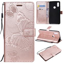 Embossing 3D Butterfly Leather Wallet Case for Mi Xiaomi Redmi 7 - Rose Gold