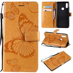 Embossing 3D Butterfly Leather Wallet Case for Mi Xiaomi Redmi 7 - Yellow