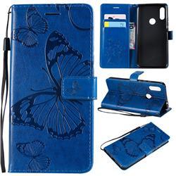 Embossing 3D Butterfly Leather Wallet Case for Mi Xiaomi Redmi 7 - Blue