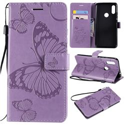 Embossing 3D Butterfly Leather Wallet Case for Mi Xiaomi Redmi 7 - Purple