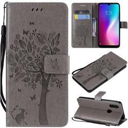 Embossing Butterfly Tree Leather Wallet Case for Mi Xiaomi Redmi 7 - Grey