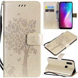 Embossing Butterfly Tree Leather Wallet Case for Mi Xiaomi Redmi 7 - Champagne