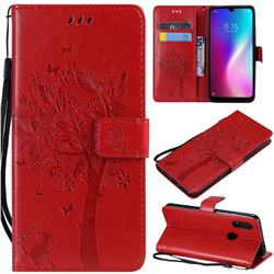 Embossing Butterfly Tree Leather Wallet Case for Mi Xiaomi Redmi 7 - Red
