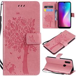 Embossing Butterfly Tree Leather Wallet Case for Mi Xiaomi Redmi 7 - Pink