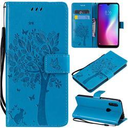 Embossing Butterfly Tree Leather Wallet Case for Mi Xiaomi Redmi 7 - Blue