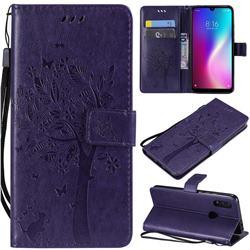 Embossing Butterfly Tree Leather Wallet Case for Mi Xiaomi Redmi 7 - Purple