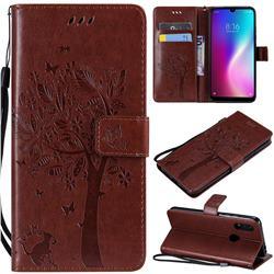 Embossing Butterfly Tree Leather Wallet Case for Mi Xiaomi Redmi 7 - Coffee
