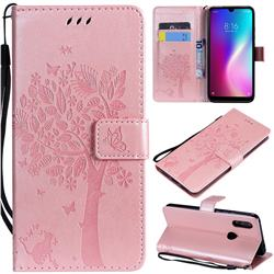 Embossing Butterfly Tree Leather Wallet Case for Mi Xiaomi Redmi 7 - Rose Pink