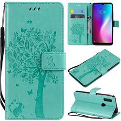 Embossing Butterfly Tree Leather Wallet Case for Mi Xiaomi Redmi 7 - Cyan