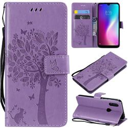 Embossing Butterfly Tree Leather Wallet Case for Mi Xiaomi Redmi 7 - Violet