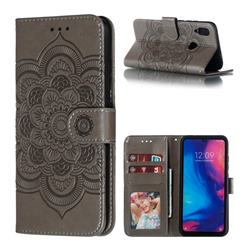 Intricate Embossing Datura Solar Leather Wallet Case for Mi Xiaomi Redmi 7 - Gray